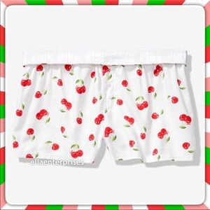 VS Pink Sleep Boxy Cherry Flannel Boxer Shorts